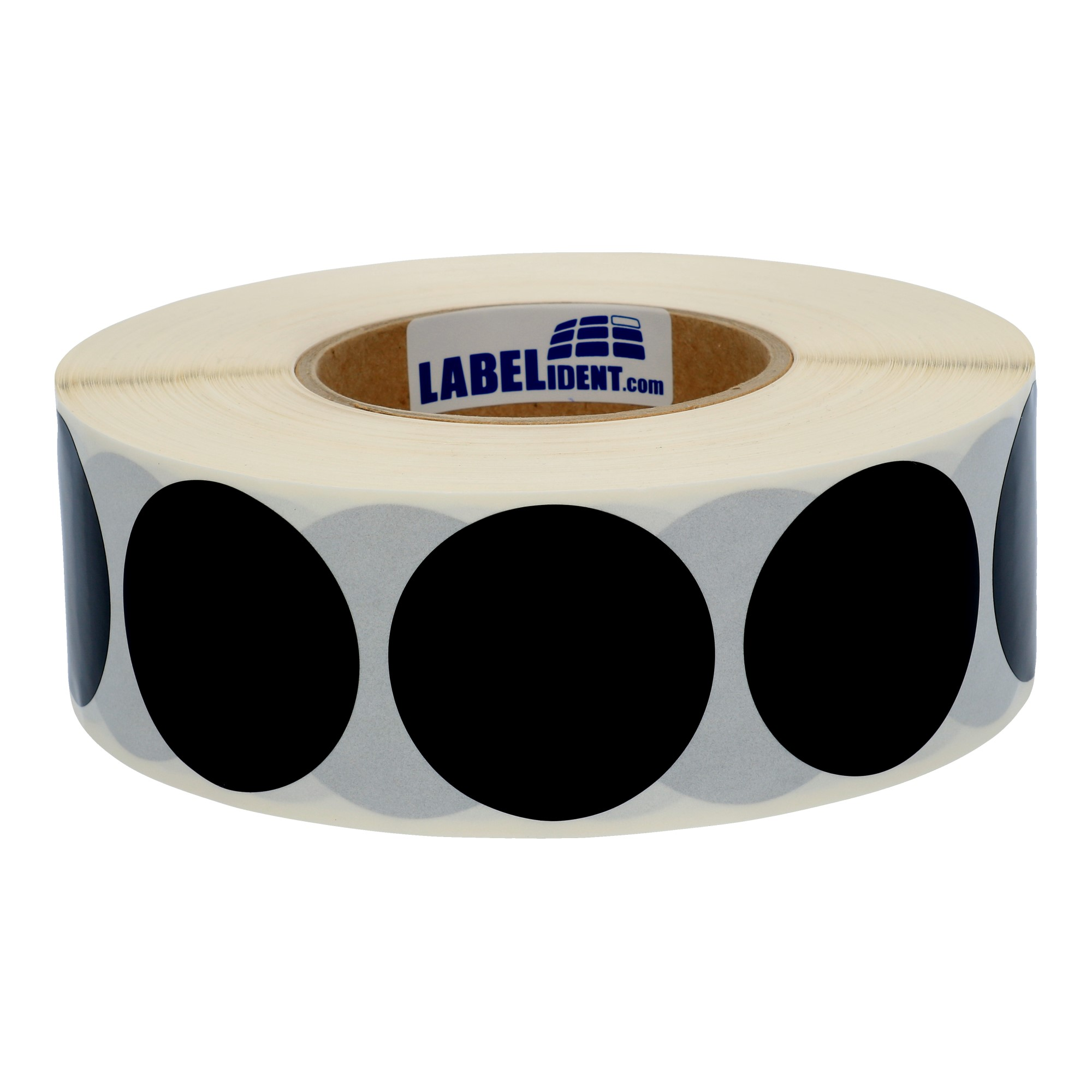 3000-Markierungspunkte-30-mm-rund-Folie-schwarz-permanent-1-Rolle-n